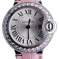 Cartier WE900351 Ballon Bleu White Gold DIA Women Pink Leather...