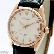 Rolex Vintage Oyster Perpetual Medium Size 34mm 18k Rose Gold...
