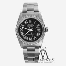Rolex Black Diamond Roman Numerals Rolex Stainless Steel Ss...