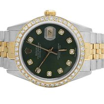 Rolex Datejust 2 Tone 18K/ S.Steel 36MM Quickset Green Dial...