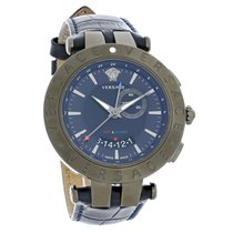 Versace V-Race Series Mens Blue Dial Swiss Quartz Watch...