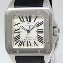 Cartier Santos 100 Stainless Steel Silver Roman Dial Mens...