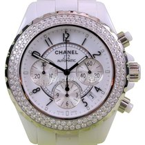 Chanel J12 H1008 White Ceramic Chronograph 41mm Automatic Date