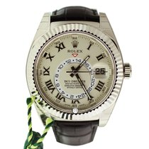 Rolex 326139 Sky-Dweller Ivory Roman Dial White Gold Leather