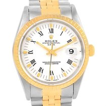 Rolex Date Mens Steel 18k Yellow Gold White Dial Watch 15223
