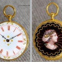 Decorative 18K gold enamel pocket watch with enameled