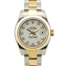 Rolex Ladies DateJust Two Tone 18kt YG/SS White Dial-179173