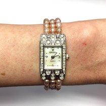 Gruen Steel Ladies Watch W/ Natural Pink Pearl Bracelet &...