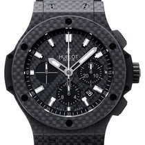 Hublot Big Bang All Carbon Chronograph Black Dial Rubber Watch...