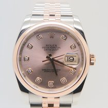 Rolex Datejust Rose Gold&Steel Factory Diamond Dial...