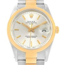 Rolex Date Steel Yellow Gold Silver Dial Mens Watch 15203 Box...