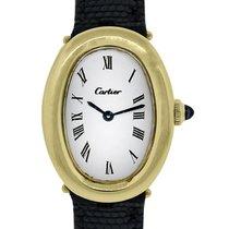 까르띠에 (Cartier) Baignoire 18k  Gold on Leather Ladies  Watch