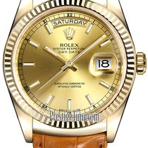 Rolex Day-Date 36mm Yellow Gold Fluted Bezel 118138 Champagne...