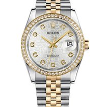 Rolex Datejust 36mm Steel and Gold Factory Diamonds Watch