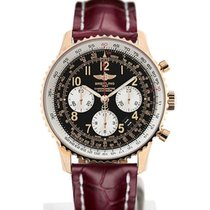 Breitling Navitimer 01 43 Arabic Numeral Dial Gold Case Red...
