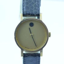 Movado Museum Damen Watch Uhr Rar Stahl Top Quartz 26mm Vergoldet
