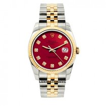 Rolex Date Unisex 34mm Red Dial Stainless Steel And Gold Bracelet
