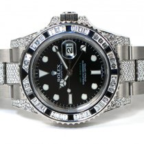 Rolex 116759-SANR Diamond GMT Master II 18K White Gold Box Papers