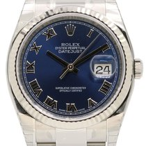 Rolex Datejust 36 116234-BLURFO Blue Roman Fluted White Gold...