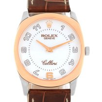 Rolex Cellini Danaos 18k White And Rose Gold Brown Strap Watch...