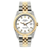 Rolex Date Unisex 34mm White Dial Gold And Stainless Steel...