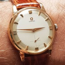 Omega 18k solid pink gold dress wristwatch 1954 caliber 267