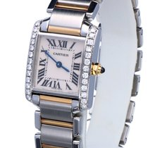 Cartier Tank Française Gold Steel Diamonds Roman Dial 25 x 20 mm