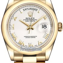 Rolex Day-Date 36mm Yellow Gold Domed Bezel 118208 White Roman...