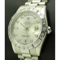 Rolex | Day Date Platinum, Ref.118366, Baguette Bezel And...