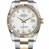 Rolex New Style Datejust Two Tone Fluted Bezel  & White...