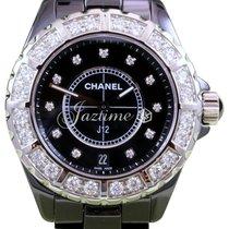 Chanel J12 H2428 38mm Black Ceramic Diamond Bezel Dial Quartz...