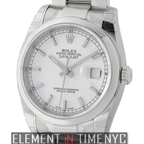 Rolex Datejust Steel 36mm Domed Bezel White Index Dial