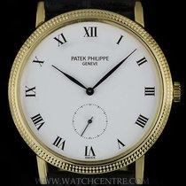 Patek Philippe 18k Yellow Gold White Enamel Roman Dial...