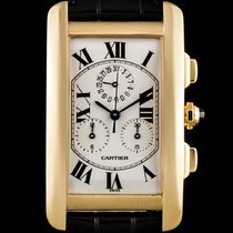 Cartier 18k Yellow Gold Silver Roman Dial Tank Americaine...