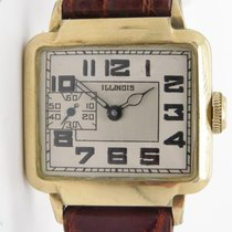 Illinois Vintage The New Yorker Watch Manual Wind 10k Yellow...
