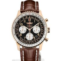 Breitling Navitimer 01 43 Arabic Numeral Dial Gold Case Brown...