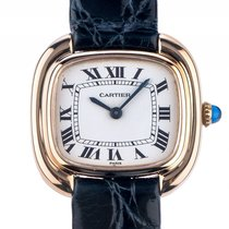 Cartier Damenarmbanduhr Gelbgold Handaufzug Armband Leder...