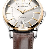 Maurice Lacroix Date Gold/Steel Case, White Dial, Gold Hands...