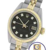 Rolex DateJust 26mm 69173 Diamond Black 18K Two-Tone Gold Jubilee