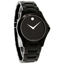 Movado Military Mens Black Dial SS Swiss Quartz Dress Watch...