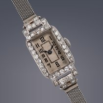 Vintage ladies Platinum diamond set Art Deco manual wind watch