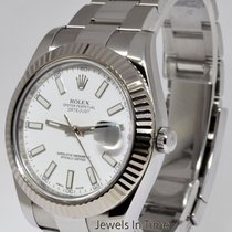 Rolex Datejust II Steel/18k White Gold Bezel White Dial Watch...