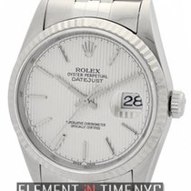 Rolex Datejust Stainless Steel 36mm Silver Tuxedo Stick Dial...