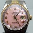 Rolex DATEJUST 36MM STEELGOLD PINK MOTHER OF PEARL ROMAN DIAL