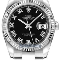 Rolex Datejust 36mm Stainless Steel 116234 Black Roman Oyster