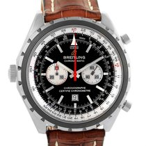 Breitling Chronomatic Left Crown Brown Strap Watch A41360 Box...