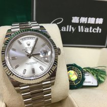 Rolex Cally - 228239 Day-Date II White Gold 40mm Silver Diamond