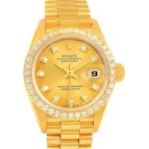 Rolex President Datejust Yellow Gold Diamond Dial Bezel Ladies...