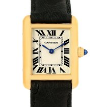 Cartier Tank Louis 18k Yellow Gold Black Strap Ladies Watch...