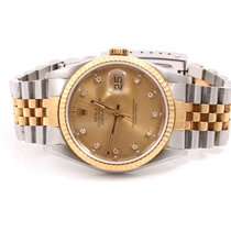 Rolex Mens 16233 Datejust Factory Champagne Diamond Dial...